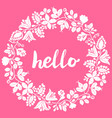 hello white laurel wreath frame isolated on pink vector image vector image