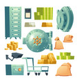 icons set bank vault and money cash vector image vector image
