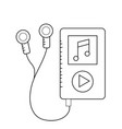 line mp3 with headphones to listen and play music vector image vector image