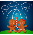loving couple of gingerbreads and sugar cane vector image vector image