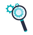 magnifying glass with gears symbol vector image vector image