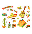 mexican culture set sombrero and guitar vector image