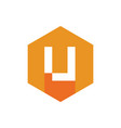 modern letter u logo orange hexagonal icon vector image vector image