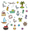 Nautical cartoon set vector image