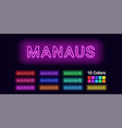 neon name of manaus city vector image vector image