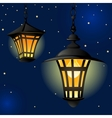 Night with light lanterns and stars Easy editable vector image
