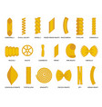 noodles pasta flat outline design set icons vector image vector image