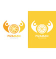 pizza and people logo combination unique pizzeria vector image
