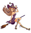 pretty witch flying on broom isolated vector image vector image