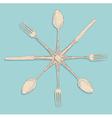 Retro cutlery design set vector image
