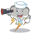 sailor with binocular thunder cloud character vector image vector image