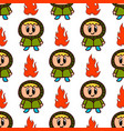 seamless pattern with a girl and flame cartoon vector image vector image