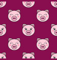 seamless pattern with the cute pink pigs vector image
