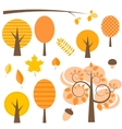 set autumn trees vector image vector image