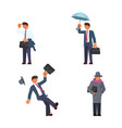 set of businessman in different weather vector image vector image