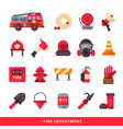 set of designed firefighter elements coloured fire vector image vector image