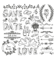Set of wedding decorative elements vector image vector image