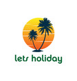 sunset palm coconut tree beach logo design vector image