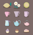 tea time color pastel pastel set icons vector image vector image