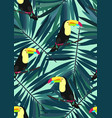 toucan and tropical leaves seamless pattern vector image