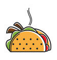 true hot mexican taco with delicious filling vector image