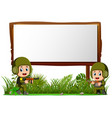 two soldiers by wooden signboard at the jungle vector image vector image