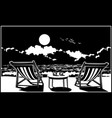 two sun loungers on the beach vector image