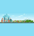 urban road with cars landscape city road traffic vector image vector image