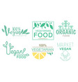 vegan market logo set organic food products green vector image vector image