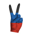 victoria finger gesture with dpr flag vector image