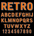 vintage 3 dimensional typeset retro font vector image vector image