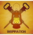 Vintage mine kerosene lantern with jackhammers vector image