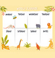 weekly planner card banner with cute wild animals vector image vector image