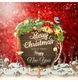 Wooden banner with Christmas Fir-tree branches vector image vector image