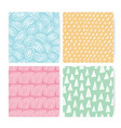 hand drawn doodle abstract seamless pattern set vector image