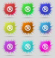 No parking icon sign A set of nine original needle vector image