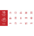 15 park icons vector image vector image