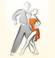 abstract dancing couple made in line vector image