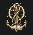 anchor in ropes and ship wheel vector image vector image