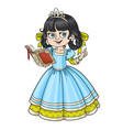 beautiful princess read book isolated on white vector image vector image