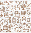 beer seamless pattern with thin line icons vector image