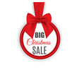 big sale round banner with red ribbon and bow vector image vector image