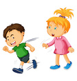 Boy and girl on white background vector image vector image