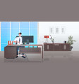 businessman sitting at workplace smiling business vector image vector image