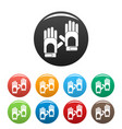 camp gloves icons set color vector image vector image