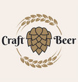 craft beer logo with beer hop and wheat on white vector image vector image