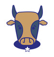 cute cow head farm animal with star belt vector image
