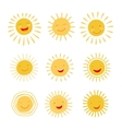cute hand drawn sun character collection vector image