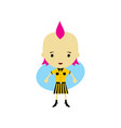 cute happy little woman - adorable girl cartoon vector image