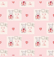 cute its a girl teddy bear postage stamp hand vector image